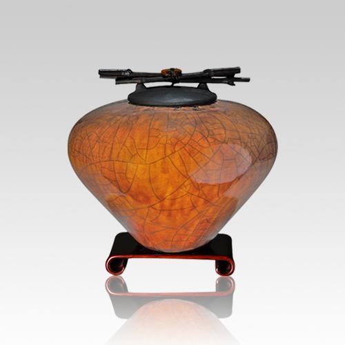 Raku Coffee Small Cremation Urn