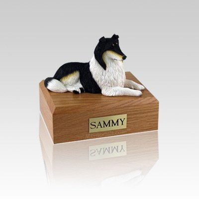 Collie Tri-Color Lying Small Dog Urn