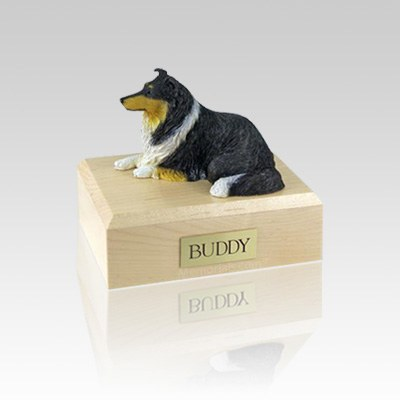 Collie Tri-Color Small Dog Urn