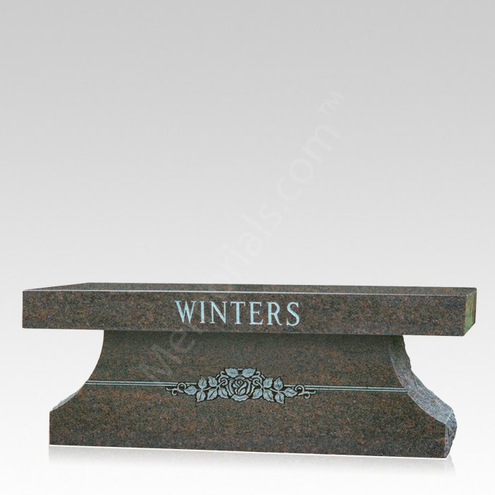 Colonial Granite Cemetery Bench
