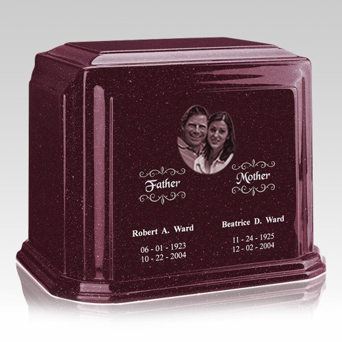 Picture Burgundy Marble Urn For Two