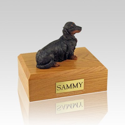 Dachshund Long-Haired Black Medium Dog Urn