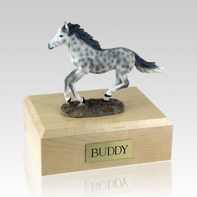 Dapple Gray Running Large Horse Cremation Urn
