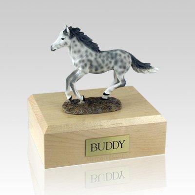 Dapple Gray Running Medium Horse Cremation Urn