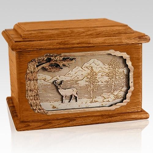 Deer Mahogany Memory Chest Cremation Urn