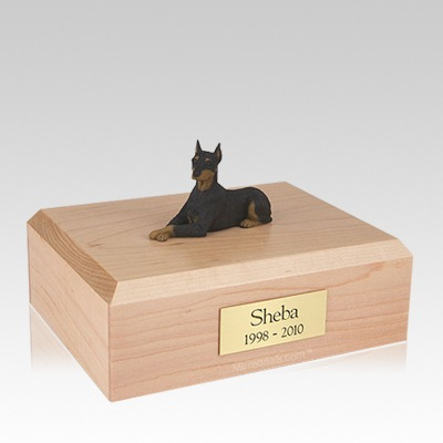 Doberman Black Ears Up Laying Large Dog Urn
