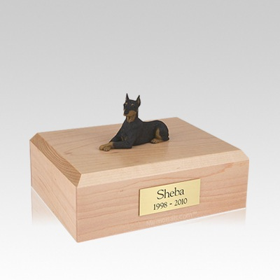 Doberman Black Ears Up Laying Medium Dog Urn