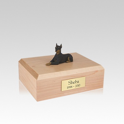 Doberman Black Ears Up Laying Small Dog Urn