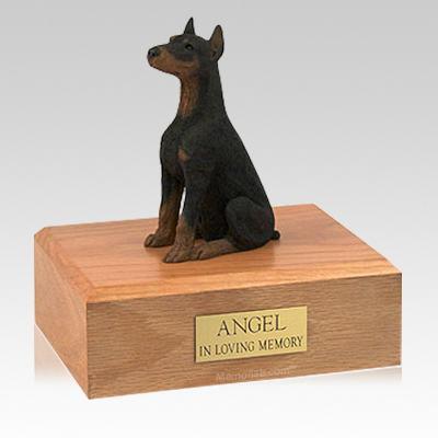 Doberman Black Ears Up Sitting Large Dog Urn