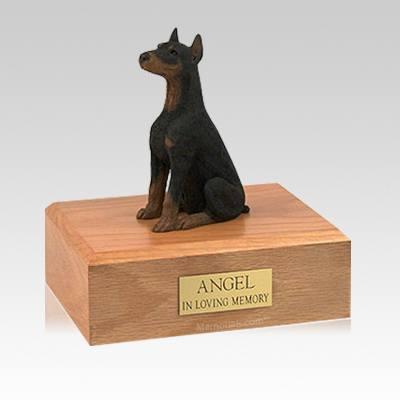Doberman Black Ears Up Sitting Medium Dog Urn