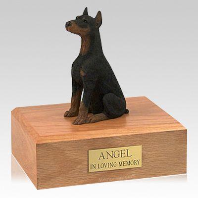 Doberman Black Ears Up Sitting X Large Dog Urn
