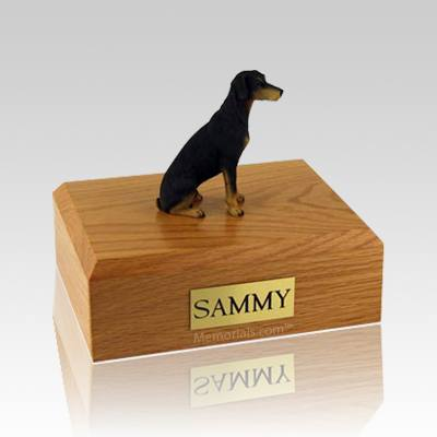 Doberman Black Large Dog Urn