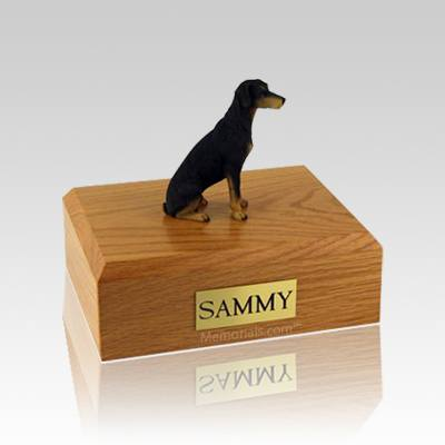 Doberman Black Medium Dog Urn