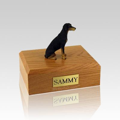 Doberman Black Small Dog Urn