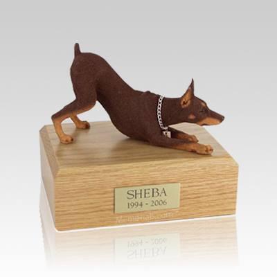 Doberman Red Stretching Medium Dog Urn