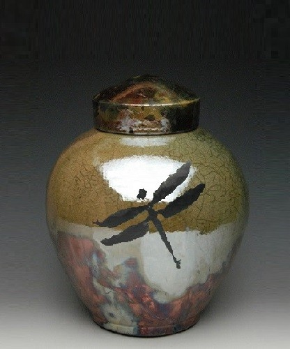Dragonfly Medium Raku Cremation Urn