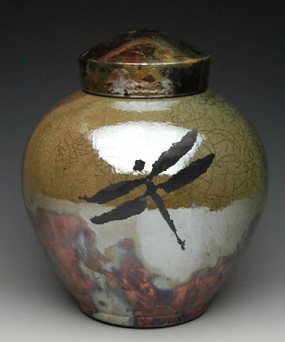 Dragonfly Raku Companion Cremation Urn
