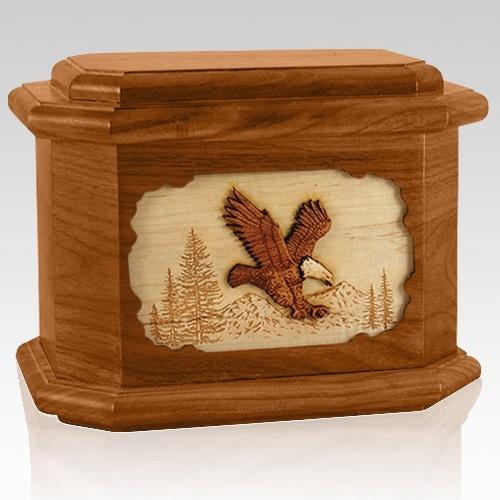 Eagle Mahogany Octagon Cremation Urn