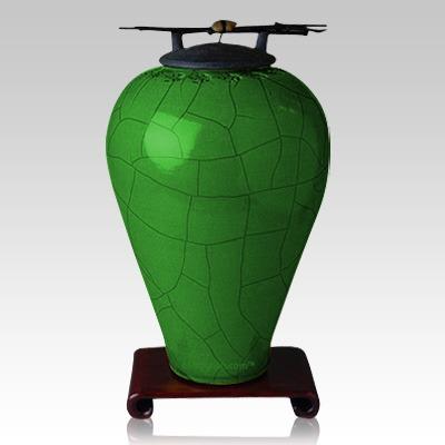 Raku Tall Emerald Companion Cremation Urn