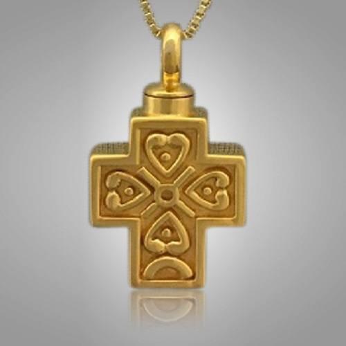 Filigree Pet Cross with Heart Memorial Jewelry II