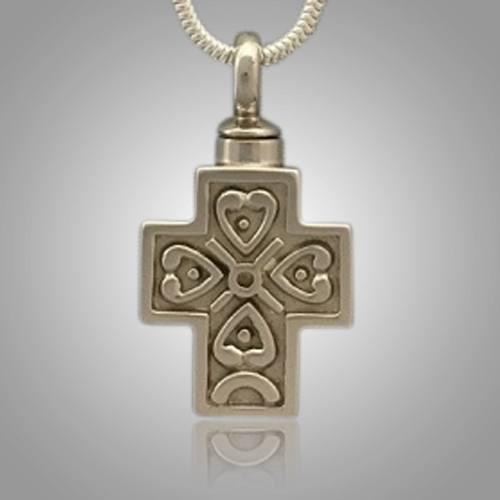 Filigree Pet Cross with Heart Memorial Jewelry