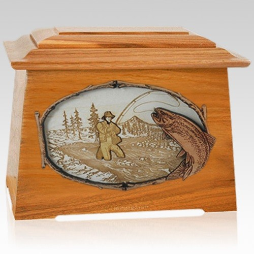 Fly Fishing Mahogany Aristocrat Cremation Urn