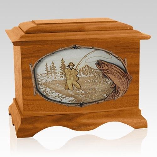 Fly Fishing Mahogany Cremation Urn