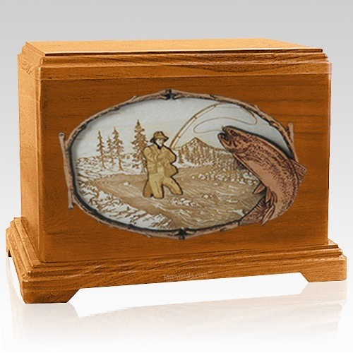 Fly Fishing Mahogany Hampton Cremation Urn