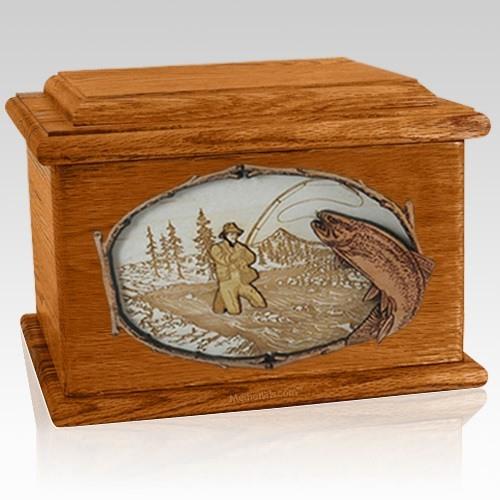 Fly Fishing Mahogany Memory Chest Cremation Urn