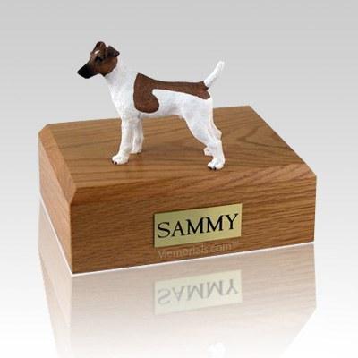 Fox Terrier Smooth Brown & White Large Dog Urn