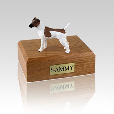 Fox Terrier Smooth Brown & White Small Dog Urn