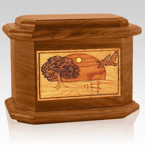 Geese Mahogany Octagon Cremation Urn