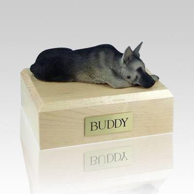 German Shepherd Black & Silver Laying X Large Dog Urn
