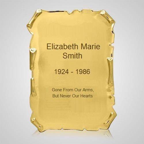 Gold Scroll Urn Plaque