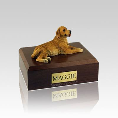 Golden Retriever Laying Small Dog Urn