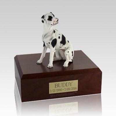 Great Dane Harlequin Ears Down Large Dog Urn