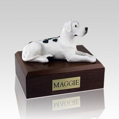 Great Dane Harlequin Ears Down Laying Large Dog Urn
