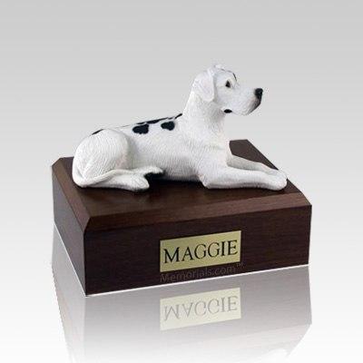Great Dane Harlequin Ears Down Laying Medium Dog Urn