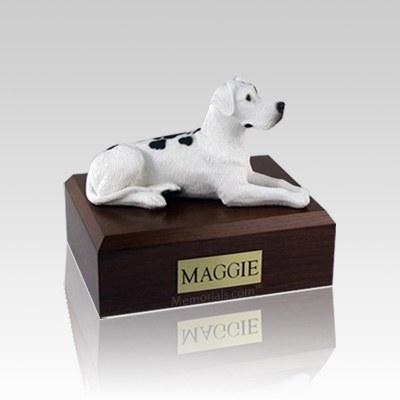 Great Dane Harlequin Ears Down Laying Small Dog Urn