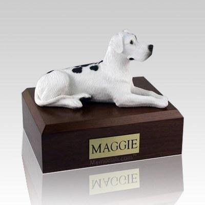 Great Dane Harlequin Ears Down Laying X Large Dog Urn