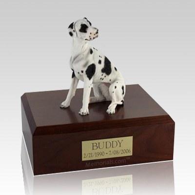 Great Dane Harlequin Ears Down X Large Dog Urn
