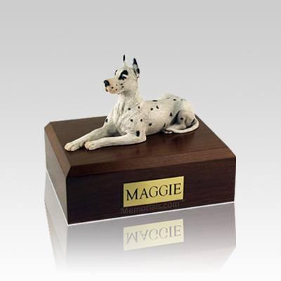 Great Dane Harlequin Small Dog Urn