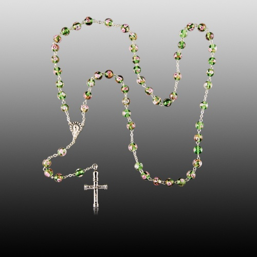 Green Crystal Cremation Rosary