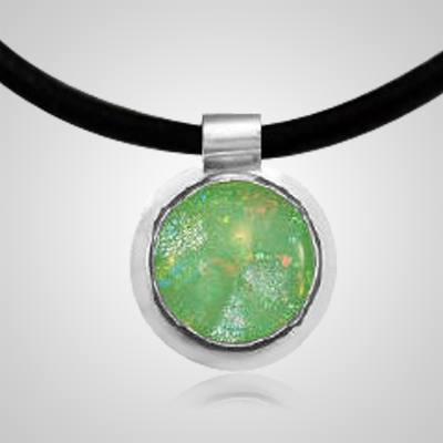 Green Dichroic Silver Opal Cremation Ash Pendant