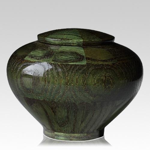 Green Medium Wood Urn