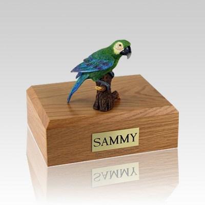 Green Parrot Large Bird Cremation Urn