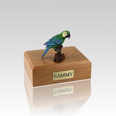 Green Parrot Small Bird Cremation Urn