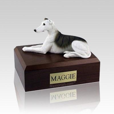 Greyhound White & Brindle Large Dog Urn