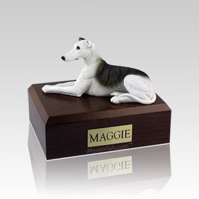 Greyhound White & Brindle Medium Dog Urn