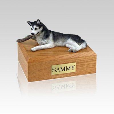 Husky Black & White Small Dog Urn